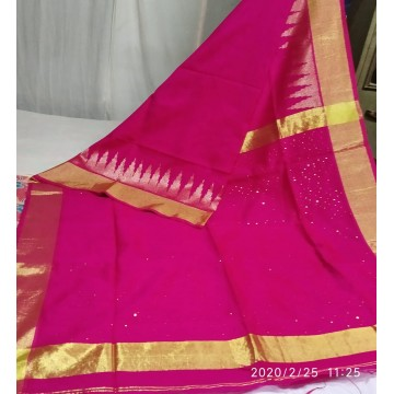 Magenta mercerized cotton-silk saree with sequins woven pallu