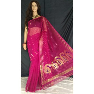 Magenta zari jamdani cotton silk saree