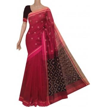 Maroon and black sico polka Bengal handloom saree