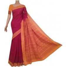 Maroon and yellow Sambhalpuri cotton saree