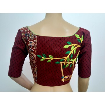 Maroon hand embroidered designer blouse (size 36, margin to increase to 40)