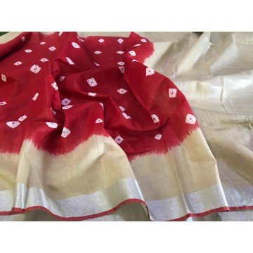 Maroon and cream Bandhani dyed cotton viscose saree