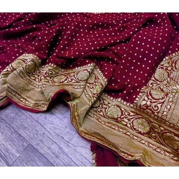 Maroon Banarasi georgette saree with gold zari
