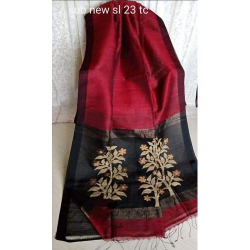 Maroon linen-silk saree with jamdani pallu