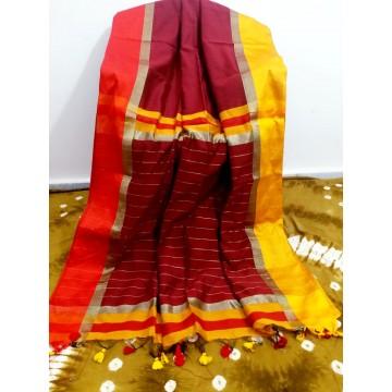 Maroon silk-cotton saree with Ganga-Jamuna border