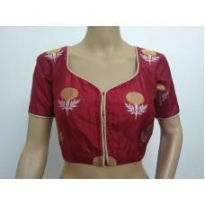 Maroon silk designer blouse (size 36, margin to increase to 40)