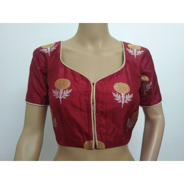 Maroon silk designer blouse (size 36, margin to increase to 40)