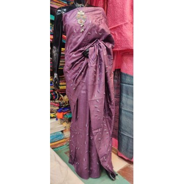 Mauve embroidered Tussar silk saree