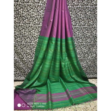 Mauve Tussar silk saree with green Ghicha pallu