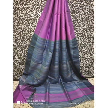 Mauve Tussar silk saree with blue-grey Ghicha pallu