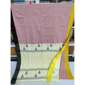Mauve mercerized cotton saree with jamdani pallu and Kantha stitch