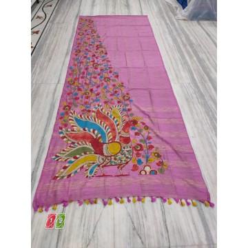 Mauve silk-cotton saree with hand-painted Kalamkari applique