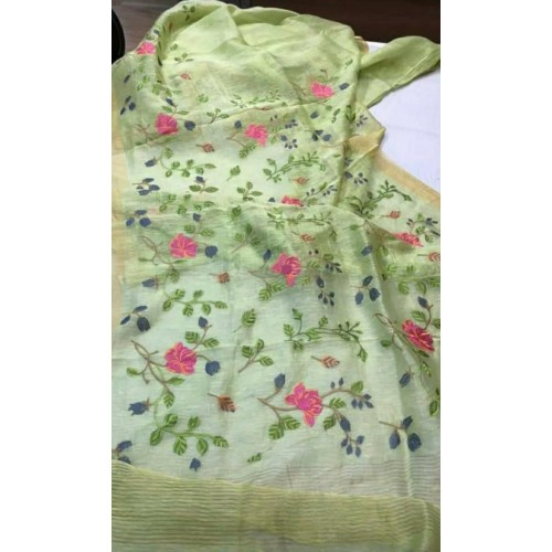 Green linen-silk saree with floral embroidery