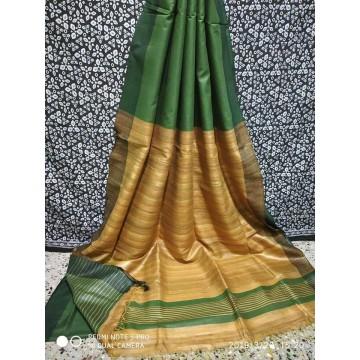 Moss green Tussar silk saree with beige Ghicha pallu