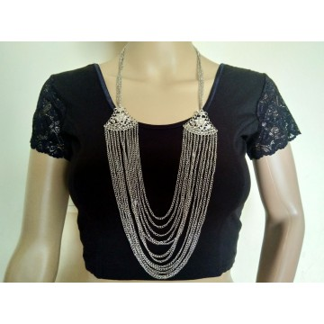 Multistrand silver tone necklace