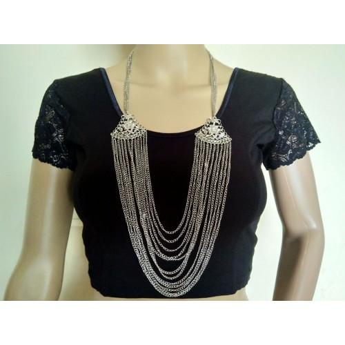 Multistrand silver tone necklace