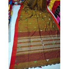 Mustard tribal weaving Khadi cotton saree