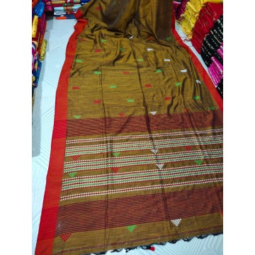 Mustard tribal weaving Khadi cotton saree