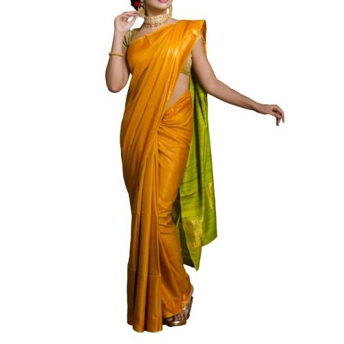 Mustard yellow Tussar silk saree with lime green Ghicha pallu