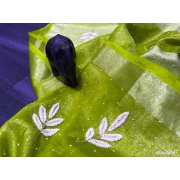 Lime tissue linen saree with pearl embroidery