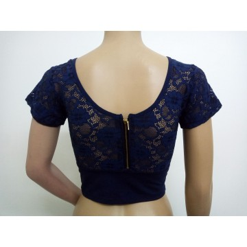 Navy blue stretch blouse with lace sleeves and zipper back (size 34 - 37)