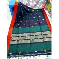 Navy blue tribal weaving Khadi cotton saree