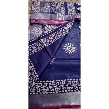 Navy blue cotton-viscose saree with Batik print - 2