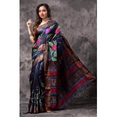 Navy blue Tussar silk saree with hand painting