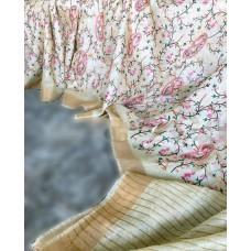 Off-white linen-silk saree with Kashmiri embroidery