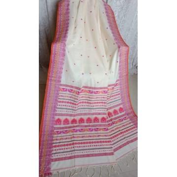 Off-white Dongria weave mercerized cotton saree