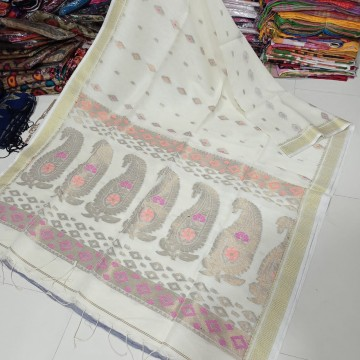 Off-white organic linen saree with intricate weaving