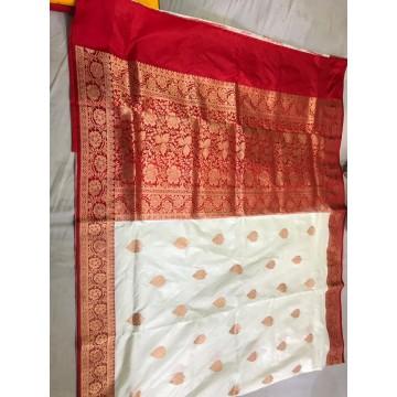 Off-white Banarasi Katan silk saree with red border