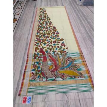Off-white silk-cotton saree with hand-painted Kalamkari applique