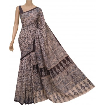 Off-white and black silk Kalamkari saree with hand block print