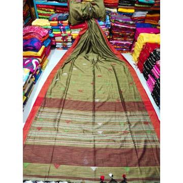 Olive tribal weaving Khadi cotton saree