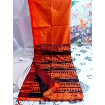 Orange Bihu silk-cotton saree