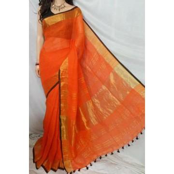 Orange linen saree with black trim