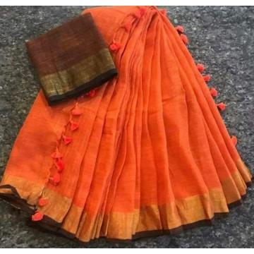 Orange and brown linen saree