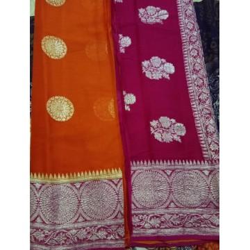 Orange and magenta handwoven Banarasi chiffon saree with silver zari