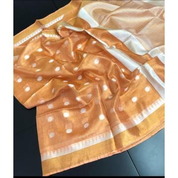 Orange polka motif tissue linen saree with temple border