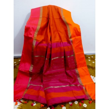 Rust silk-cotton saree with Ganga-Jamuna border