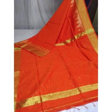 Orange mercerized cotton-silk saree with sequins woven pallu