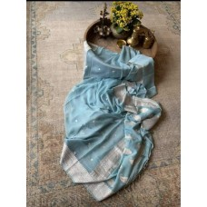 Pale blue Banarasi chiffon saree with silver motifs