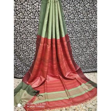 Pale green Tussar silk saree with red Ghicha pallu