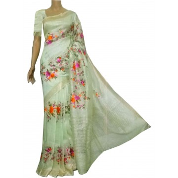 Pale green linen-silk saree with floral embroidery