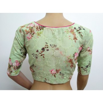 Pastel green hakoba floral print blouse (size 38, can be extended to size 42)