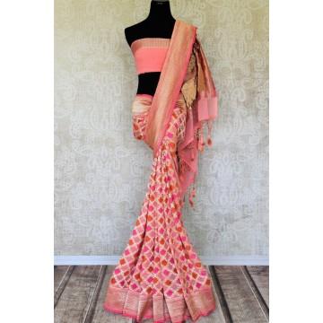 Peach Banarasi georgette-chiffon saree