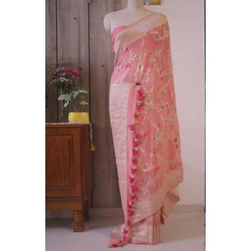 Peach minakari Banarasi georgette saree