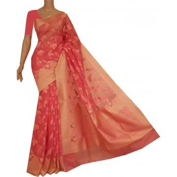 Peach Banarasi silk-cotton jacquard saree with birds motif