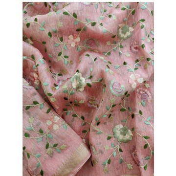 Peach linen-silk saree with Parsi embroidery